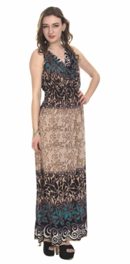 Contrast 2 Tone Tropical Print Cowl Neck Sleeveless Maxi Dress (Teal)