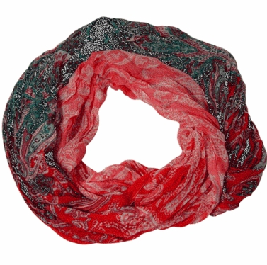 Blended Paisley Fashion Infinity Loop Scarf (Coral/Teal )