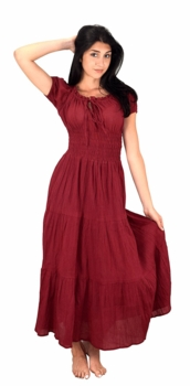 Cotton Gypsy Tiered Renaissance Cinched Waist Maxi Dress (Red)