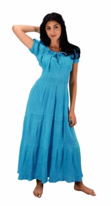 Cotton Gypsy Tiered Renaissance Cinched Waist Maxi Dress (Turquoise)