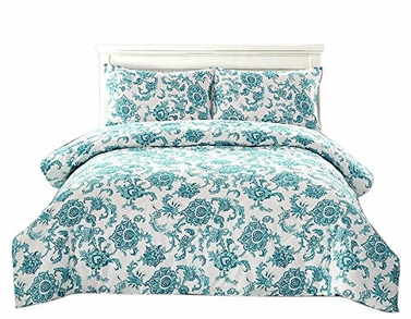 Couture Home Collection Floral Dream 3 pcs Comforter Set Blue