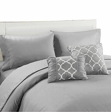 Couture Home Collection Geometric Print 6 pcs Royal Set Grey