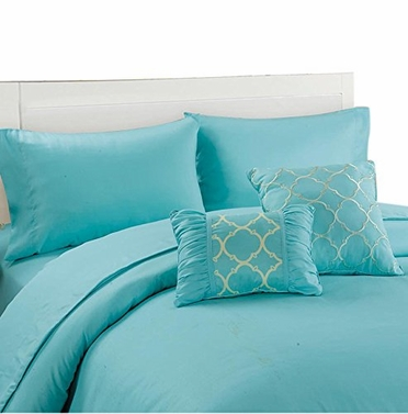 Couture Home Collection Geometric Print 6 pcs Royal Set Light Blue