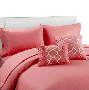 Couture Home Collection Geometric Print 6 pcs Royal Set Pink