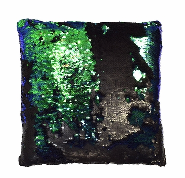 Couture Home Collection Haute D�cor Reversible Sequin Decorative Color Changing Mermaid Throw Pillow with Insert (Black and Teal)