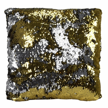 Couture Home Collection Haute D�cor Reversible Sequin Decorative Color Changing Mermaid Throw Pillow with Insert (Gold Silver)
