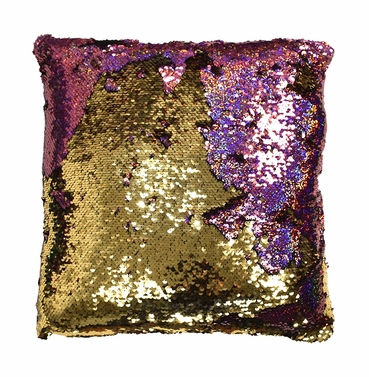 Couture Home Collection Haute D�cor Reversible Sequin Decorative Color Changing Mermaid Throw Pillow with Insert (Pink and Gold)