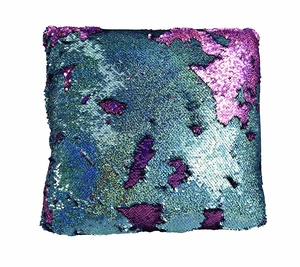 Couture Home Collection Haute Décor Reversible Sequin Decorative Color Changing Mermaid Throw Pillow with Insert (Purple Turquoise)