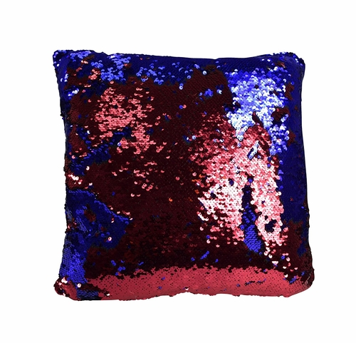 Couture Home Collection Haute Décor Reversible Sequin Decorative Color Changing Mermaid Throw Pillow with Insert (Red Blue)