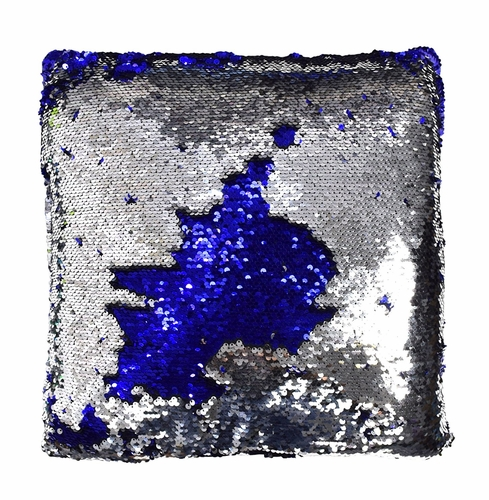 Couture Home Collection Haute Décor Reversible Sequin Decorative Color Changing Mermaid Throw Pillow with Insert (Silver Blue)