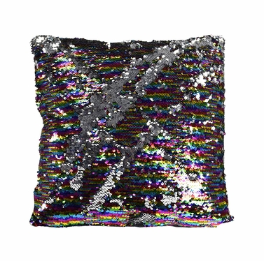 Couture Home Collection Haute D�cor Reversible Sequin Decorative Color Changing Mermaid Throw Pillow with Insert (Silver Rainbow)