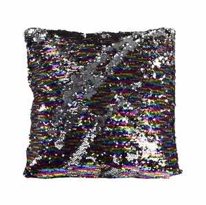 Couture Home Collection Haute Décor Reversible Sequin Decorative Color Changing Mermaid Throw Pillow with Insert (Silver Rainbow)