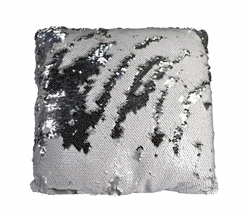 Couture Home Collection Haute Décor Reversible Sequin Decorative Color Changing Mermaid Throw Pillow with Insert (Silver White)