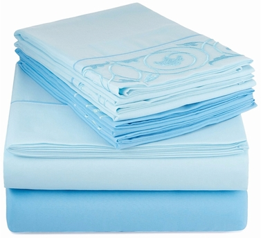 Couture Home Collection Vine Embossed Embroidery 6 pcs Fitted Sheet Set Light Blue