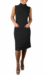 Cowl Neck Sleeveless Sweater Dress with Pockets Black