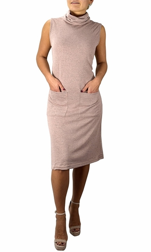 Cowl Neck Sleeveless Sweater Dress with Pockets Blush
