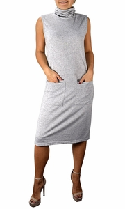 Cowl Neck Sleeveless Sweater Dress with Pockets Grey
