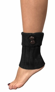 Cozy Soft Adjustable Knitted Winter Leg Warmers with Cute Buttons Black