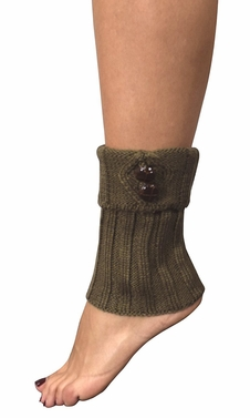 Cozy Soft Adjustable Knitted Winter Leg Warmers with Cute Buttons Taupe