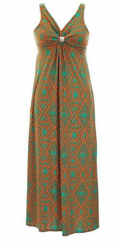 Damask & Print Summer Sleeveless Bodycon Maxi Dress (Orange)