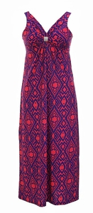 Damask & Print Summer Sleeveless Bodycon Maxi Dress (Purple)