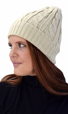 Double Layer Fleece Lined Unisex Cable knit Winter Beanie Hat Cap Beige