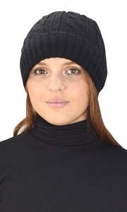 Double Layer Fleece Lined Unisex Cable knit Winter Beanie Hat Cap Black