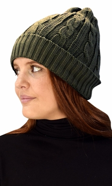 Double Layer Fleece Lined Unisex Cable knit Winter Beanie Hat Cap Olive