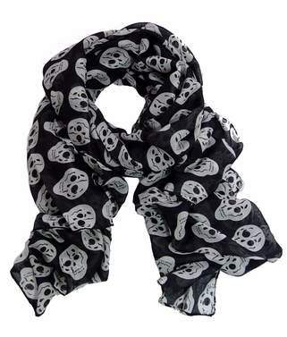 Edgy and Chic Black Skull Fashion Scarf Wrap