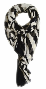 Electrifying Stylish Zebra Animal Print Fashion Scarf/wrap/shawl (Black/Cream)
