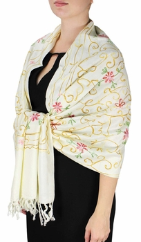 Elegantly Hand Embroidered Floral Design Pashmina Shawl (Off White)