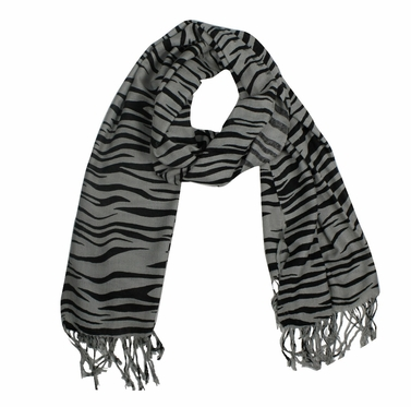 Classic Zebra Striped Pashmina Shawls (Grey/Black)