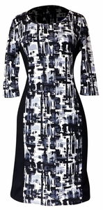 Elegant Black and Multi Printed ¾ Sleeve Loose Mini Shift Dress (Abstract Blue)