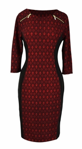 Elegant Black and Multi Printed ¾ Sleeve Loose Mini Shift Dress (Abstract Burgundy)