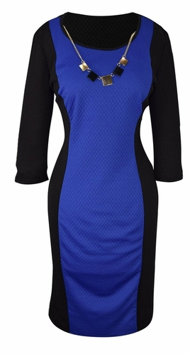 Elegant Black and Multi Printed ¾ Sleeve Loose Mini Shift Dress (Blue/Black)