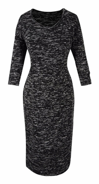 Elegant Black and Multi Printed � Sleeve Loose Mini Shift Dress (Marled Grey)