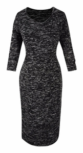 Elegant Black and Multi Printed ¾ Sleeve Loose Mini Shift Dress (Marled Grey)