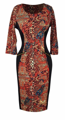 Elegant Black and Multi Printed ¾ Sleeve Loose Mini Shift Dress (Paisley Orange)