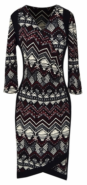 Elegant Black and Multi Printed � Sleeve Loose Mini Shift Dress (Tribal Burgundy)
