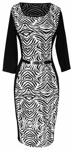 Elegant Black and Multi Printed ¾ Sleeve Loose Mini Shift Dress (Zebra)