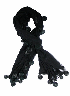 Elegant Black w/Dangly Circles Fashion Scarf