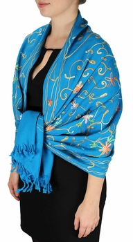 Elegantly Hand Embroidered Floral Design Pashmina Shawl (Blue)