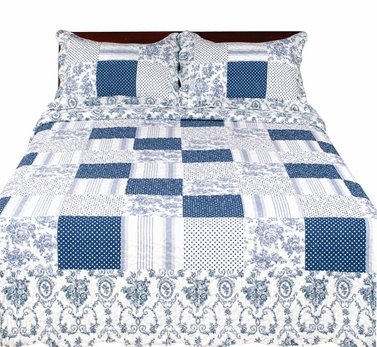 Elegant Emroidered Reversible Quilt Set with Shams - 100% Cotton Fill Blue, King