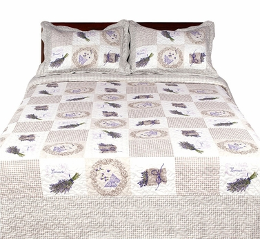 Elegant Emroidered Reversible Quilt Set with Shams - 100% Cotton Fill Lavender, King