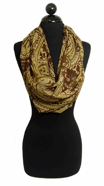 Elegant Fashion Brown Paisley Infinity Loop Scarf
