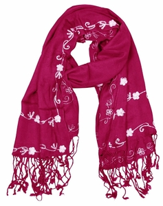 Vintage Floral Hand Embroidered Pashmina Shawl Scarf (Fuchsia)