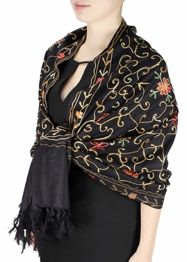 Elegantly Hand Embroidered Floral Design Pashmina Shawl (Black)