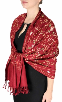 Elegantly Hand Embroidered Floral Design Pashmina Shawl (Maroon)