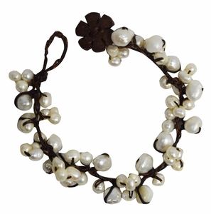 Elegant Jewelry Natural Fresh Water Pearls Coconut Wood & Waxed Thread Bracelet