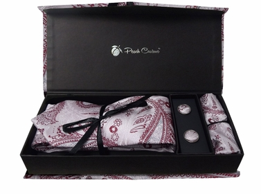 Elegant Men's Silk Feel Necktie Cufflinks Pocket Square Handkerchief Set (Paisley, Light Pink/Red)